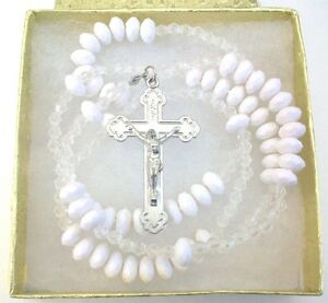 """White Rosary Prayer Beads Silver tone Cross Crucifix Necklace 24"""""""