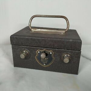 Rare-Vintage-1960-039-s-Small-Foreign-All-Metal-Star-Savings-Safe-In-Well-Used-Condi