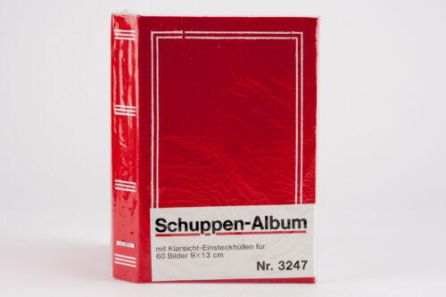 Fotoalbum Schuppen-Album rot Klarsicht-Einsteckhüllen für 60 Bilder á 9x13cm