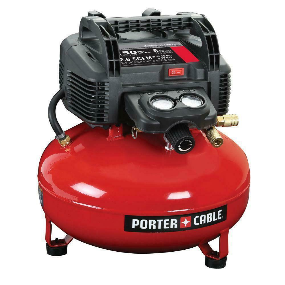 Porter-Cable C2002 150 PSI 6 Gallon Oil-Free Pancake Air Compressor. Available Now for 99.00