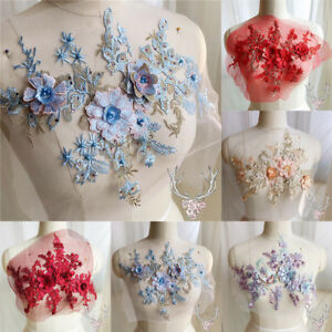 3D-Flower-Embroidery-Lace-Bridal-Applique-Beaded-Pearls-Tulle-DIY-Wedding-Dress