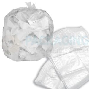 100 x Refuse Sacks CLEAR Bags Bin Liner Rubbish Waste Recycling Bags 18x29x39""