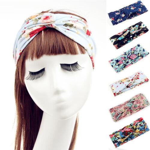 Ladies Flower Elastic Twisted Turban Hair Band Knotted Headbands Yoga HeadsRDUK