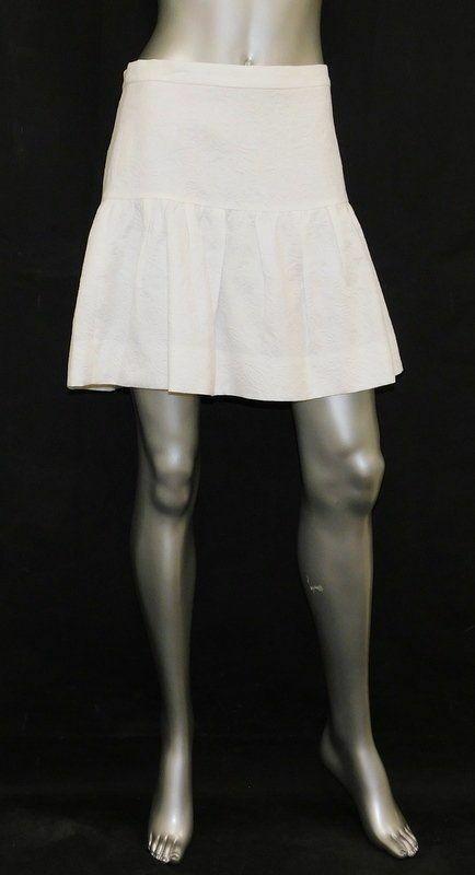 J.CREW NWT Ivory Embossed Back Zipper Drop Waist Pleated A-Line Skirt sz 2  79