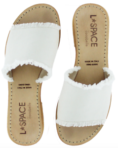 L-Space-by-Cocobelle-Women-s-Sandals-Sunday-Slide-Leather-Sandal-Ivory-NWT