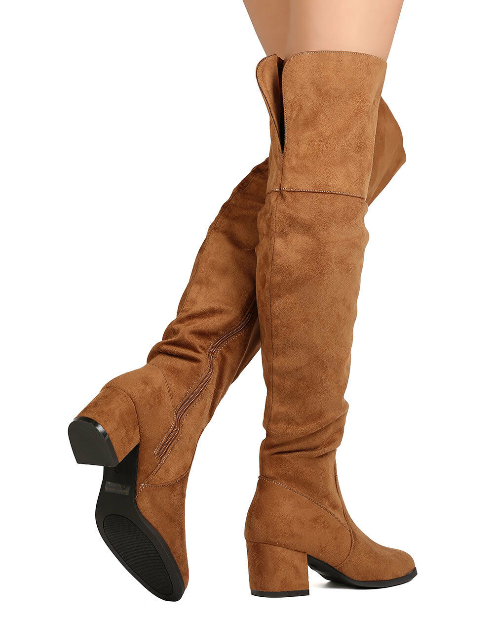 New Women Refresh Becky-02 Faux Suede Over The Knee Chunky Heel Boot