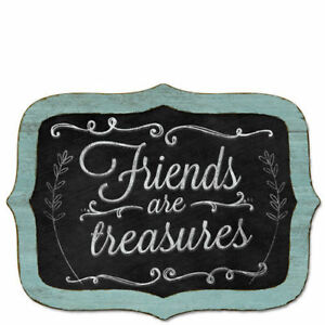 Blue-Framed-Wooden-Chalkboard-Sign-Wall-Plaque-FRIENDS-ARE-TREASURES-Cottage