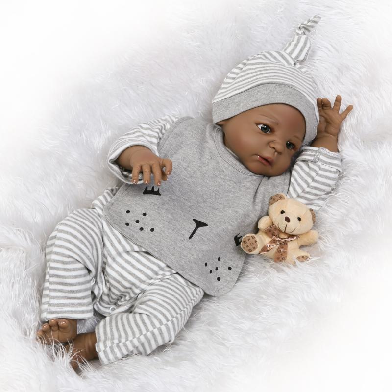 Muñecas Reborn Bebé Niño Negro Completo Cuerpo Silicona Muñeca de Juguete de Regalo Vinilo 23  realista