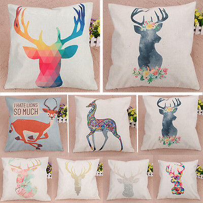 Creative Deer Pattern Cotton Linen Throw Pillow Cover Pillow Cushion Case Decor