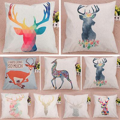 Creative Deer Pattern Cotton Linen Throw Pillow Cover Pillow Cushion Case Decor