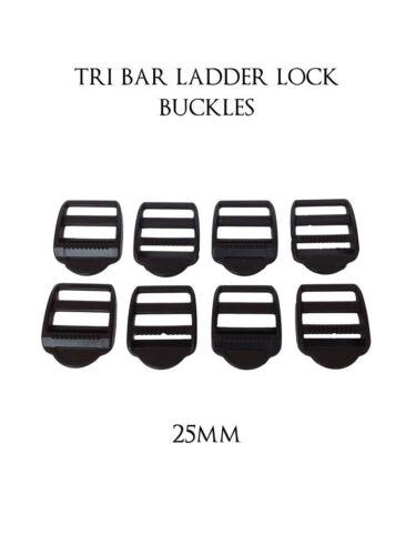 25mm Black Plastic Ladderlock Rucksack Webbing Strap Slider Buckles x 50