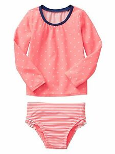 New-GAP-Girl-Rashguard-2-piece-swimsuit-set-long-sleeve-peach-dots-blue-UPF-40