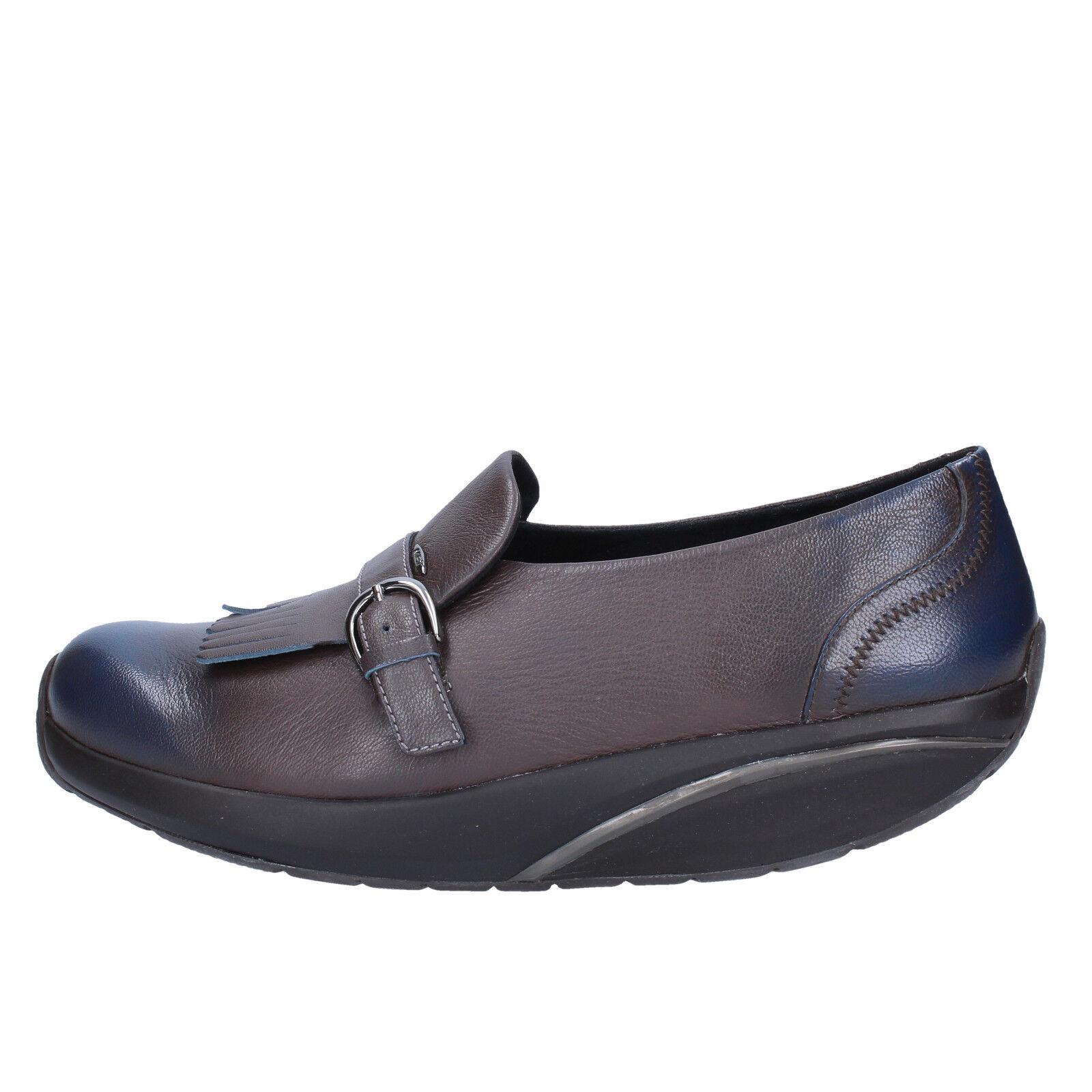 Zapatos fehombresinos MBT 4 (UE 37) loakers cuero gris y azul ac129 - B