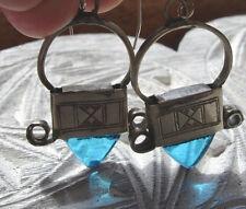Niger Tuareg turquoise hand engraved earrings + cross design + silver hooks
