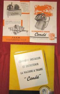 N°1380 / 2 catalogues  la machine à traire  Condé   F.A.R.M
