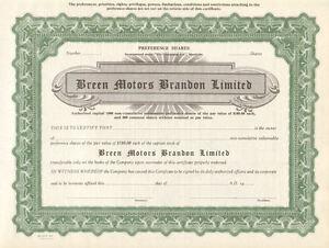 Breen-Motors-Brandon-Limited-gt-Manitoba-Canada-auto-stock-certificate