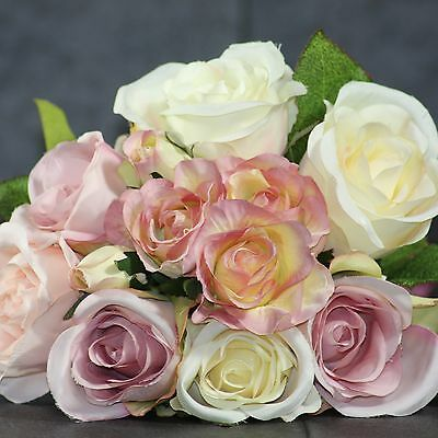 Bunch Pretty Vintage Rose Pink and Cream Posy Bouquet Bunch