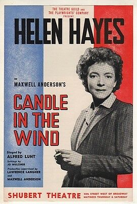 "Flyer ""Candle in the Wind"" 1941  Broadway Helen Hayes - Maxwell Anderson"