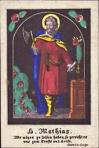 Heiliger-Mathias-Heiligenbild-Gnadenbild-Gebetsbild-Geiger-Koloriert-O-8562
