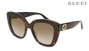 dd23df60fa Image is loading GUCCI-Sunglasses-GG0327S-002-Dark-Havana-Brown-Grad-