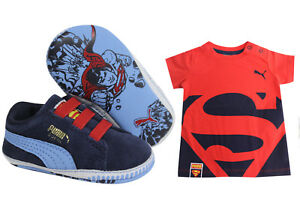 Sets Suede amp; Crib Puma Trainers Shoe Shirt Pack Superman Kids T fOv1wgq