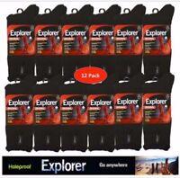12 Pair Pack Genuine Holeproof Explorer Wool Blend Mens Work Socks 6-10 & 11-14