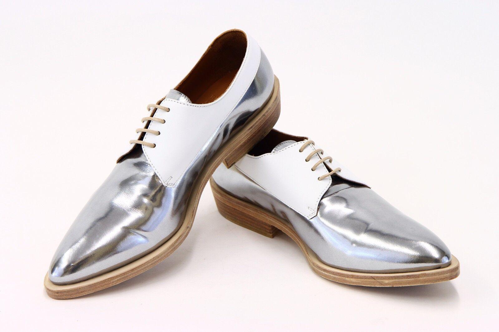 NWOB  1425 Brunello Cucinelli 2-Tone Metallic Leather Lace-Up Derbys 37 7US A176