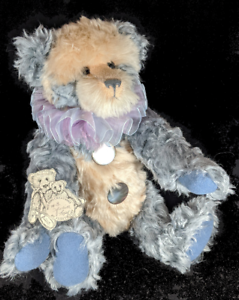 "Panda Bear Artist Judith Topf Blue &Cream  17.5"" Wee Paws Creations Curly Mohair"