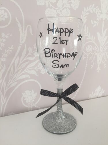 Birthday  18th  21st  40th  50th  Any Colour Personalised Wine Glass