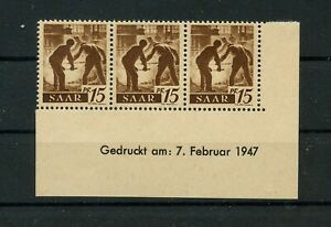Germany-Saar-Saarland-vintage-yearset-1947-Mi-212-Z-Br-Mint-MNH