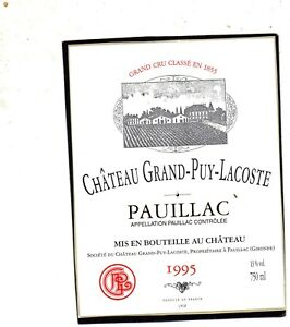 PAUILLAC VIEILLE ETIQUETTE CHATEAU GRAND PUY LACOSTE 1995 RARE 04/07/18 - France - État : Neuf: Objet neuf et intact, n'ayant jamais servi, non ouvert, vendu dans son emballage d'origine (lorsqu'il y en a un). L'emballage doit tre le mme que celui de l'objet vendu en magasin, sauf si l'objet a été emballé par le fabricant d - France