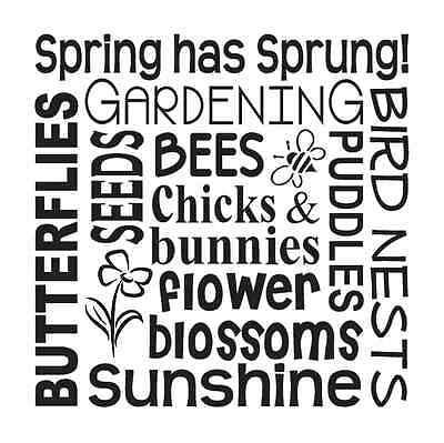 Spring Garden STENCIL12x12**Spring has sprung chicks flowers** for signs crafts