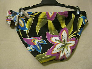 $40 TROPICAL ESCAPE Womens Bikini Bottom,Sz 10,Black+Floral,Swim,Beach,Aloha,NEW