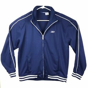 Details about Reebok Adult Medium Blue White Track Jacket Full Zip Warm Up Polyester Mens M