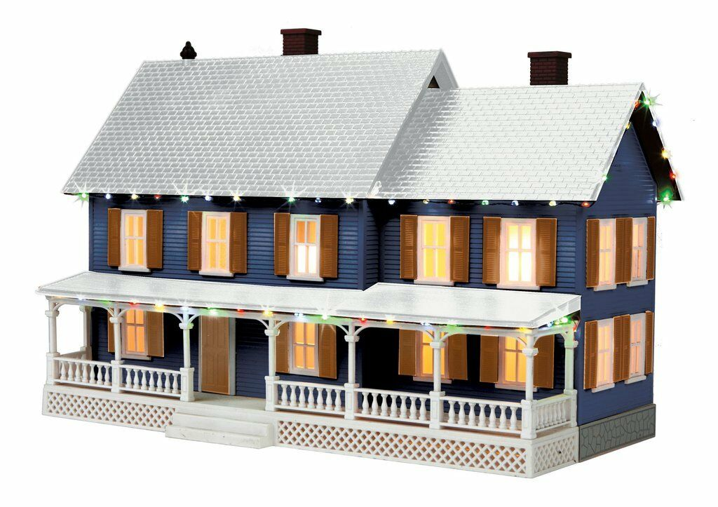 O - Gage - MTH - blå w   brun Shutters Country House w   Operation Christmas Ligh