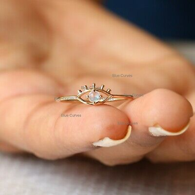14K Solid Yellow Gold Genuine Rainbow Moonstone Evil Eye Ring Moonstone Promise Engagement Anniversary Ring Handmade Minimalist Jewelry