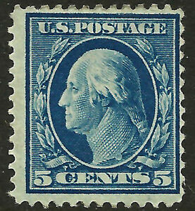 US-335-Mint-OG-1908-Blue-5c-Perf-12-Double-Line-Watermarked-Ht