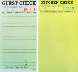 1 Pack Of 10 2 Part Guest Check Carbonless Kitchen