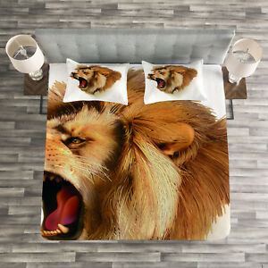 Details about King Quilted Bedspread & Pillow Shams Set, Roaring Fierce  Lion Head Print