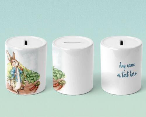 Personalised gift Custom Peter Rabbit money box Keepsake Children/'s gift