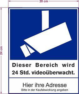 Details Zu Video überwachung Bereich Wird Videoüberwacht Adresse Aufkleber Schild Zeichen