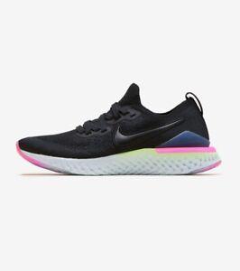 Nike-Epic-React-Flyknit-2-Black-Black-Sapphire-Size-7-AQ3243-003