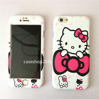 Hot Cartoon cute pink bow hello kitty fullbody case cover for iphone 7 6 6S plus