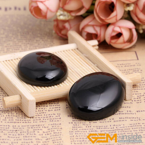 Natural Gemstone Black Agate CAB Cabochon Loose Beads For Jewelry Making 5 Pcs Y