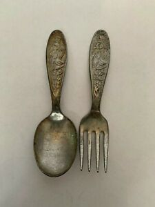 Antique-Standard-Silver-Plate-Lucky-Daddles-Goose-Child-039-s-Spoon-and-Fork