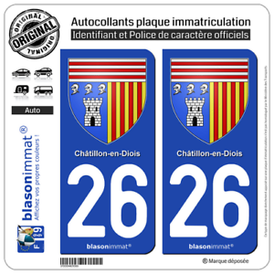 2 Autocollants plaque immatriculation auto Armoiries 26 Châtillon-en-Diois