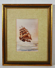 Vintage Watercolor Signed JON HABER Artist Exquisite Sailing Ship Seascape