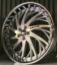 24 Inch Silver Brushed Artis Decatur Wheels Rims 5x120 5x475 32 22 26
