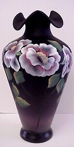 Fenton-Moonlit-Poppies-on-Black-Satin-Vase-Platinum-Colection-Scott-Fenton-Sig