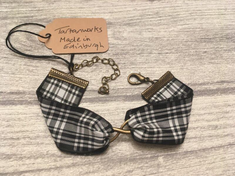 Bracelet Menzies Tartan W/ Vintage Style Infinity Charm Made In Scotland New